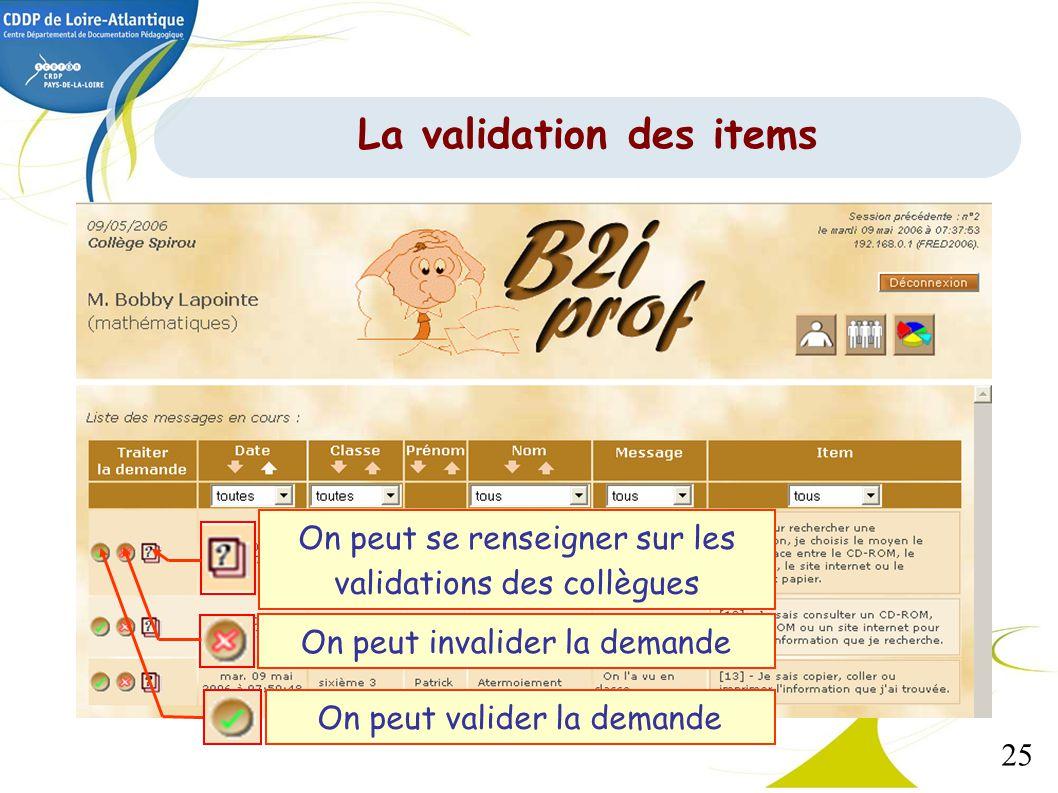 25 On peut se renseigner sur les validations des collègues On peut invalider la demande On peut valider la demande La validation des items