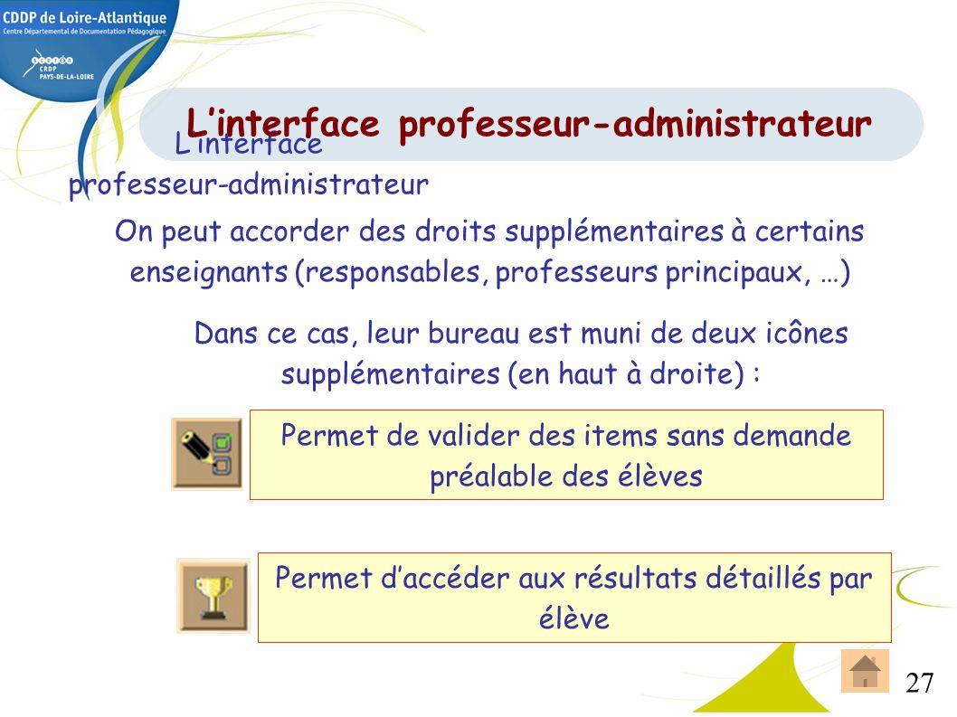 27 Linterface professeur-administrateur On peut accorder des droits supplémentaires à certains enseignants (responsables, professeurs principaux, …) D
