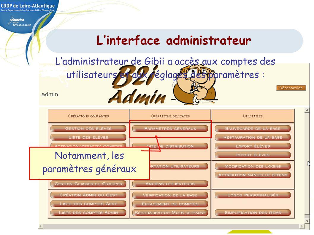 29 Ladministrateur de Gibii a accès aux comptes des utilisateurs et aux réglages des paramètres : Notamment, les paramètres généraux Linterface admini