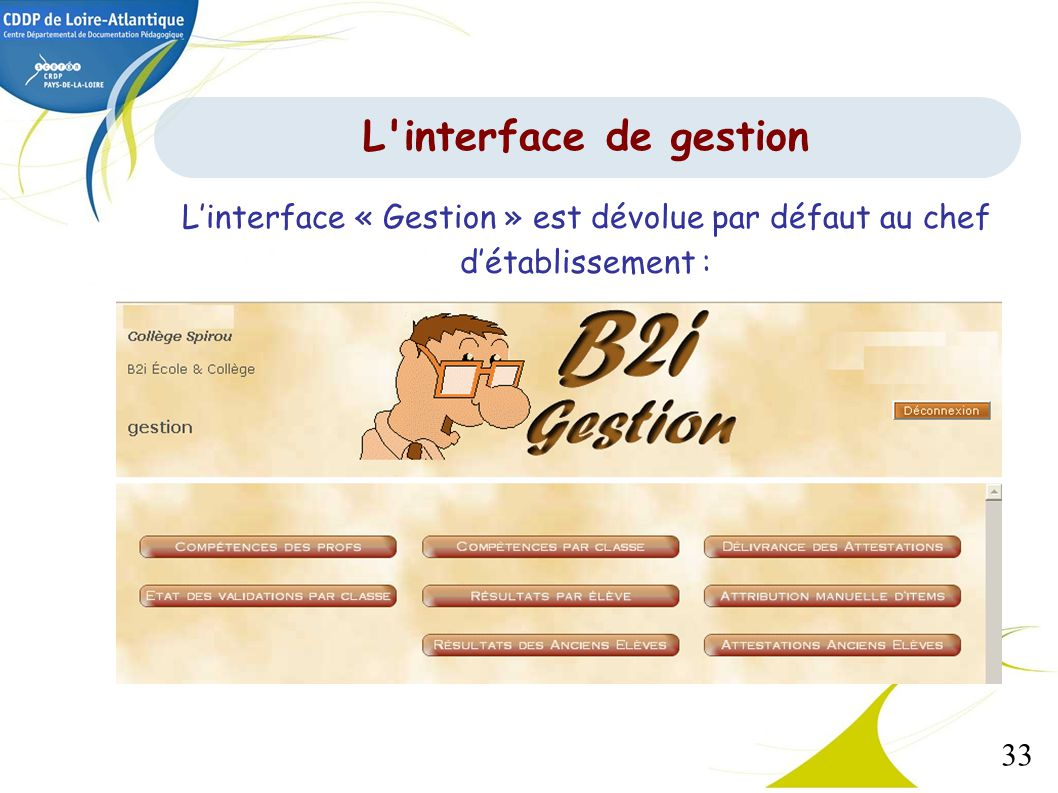 33 Linterface « Gestion » est dévolue par défaut au chef détablissement : L'interface de gestion