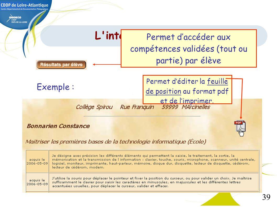 39 Exemple : Permet déditer la feuille de position au format pdf et de limprimer. L'interface de gestion Permet daccéder aux compétences validées (tou