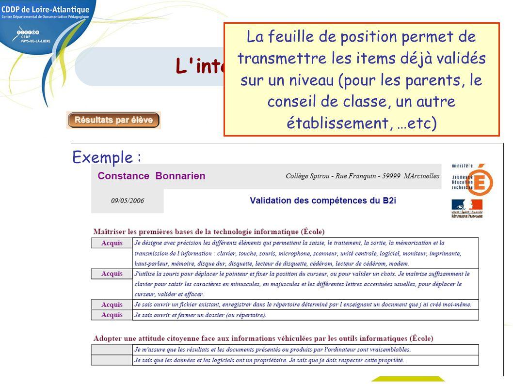 40 Exemple : L'interface de gestion La feuille de position permet de transmettre les items déjà validés sur un niveau (pour les parents, le conseil de