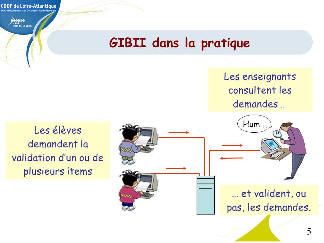 5 GIBII dans la pratique Les élèves demandent la validation dun ou de plusieurs items Les enseignants consultent les demandes … Hum … … et valident, o