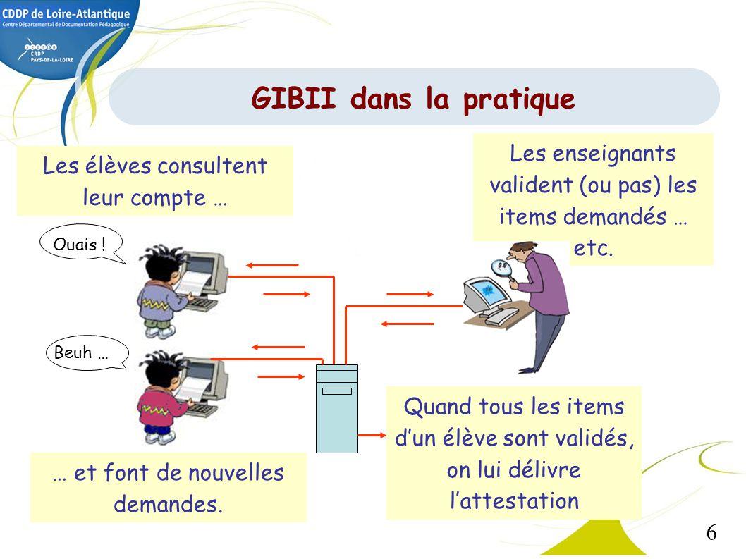 6 GIBII dans la pratique Les élèves consultent leur compte … Les enseignants valident (ou pas) les items demandés … etc. Quand tous les items dun élèv