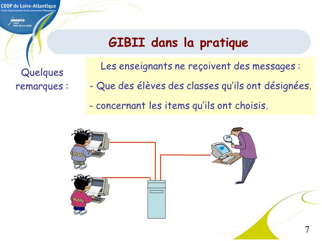 7 GIBII dans la pratique Les enseignants ne reçoivent des messages : - Que des élèves des classes quils ont désignées. - concernant les items quils on