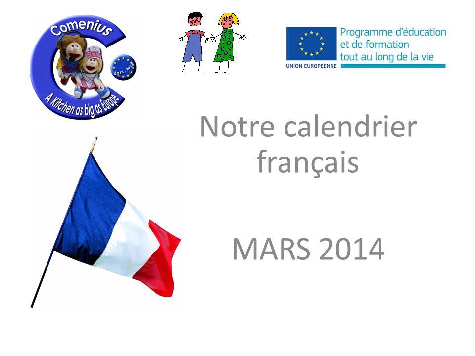 Notre calendrier français MARS 2014