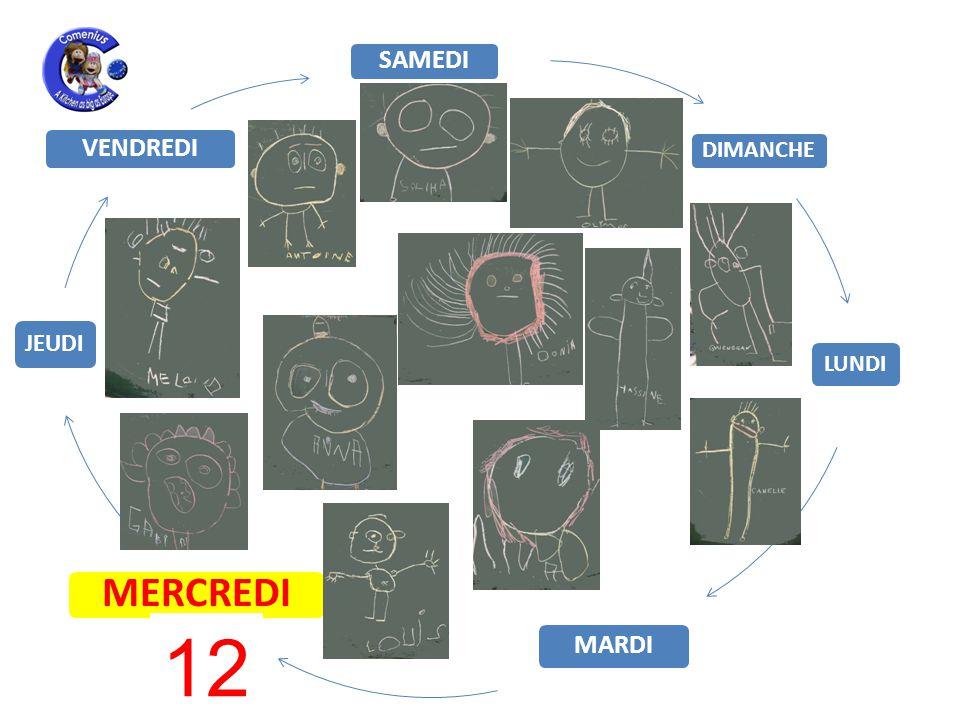 LUNDI MARDI MERCREDI JEUDI VENDREDI SAMEDI DIMANCHE 12