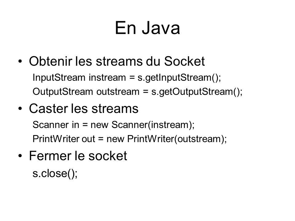 En Java Obtenir les streams du Socket InputStream instream = s.getInputStream(); OutputStream outstream = s.getOutputStream(); Caster les streams Scanner in = new Scanner(instream); PrintWriter out = new PrintWriter(outstream); Fermer le socket s.close();