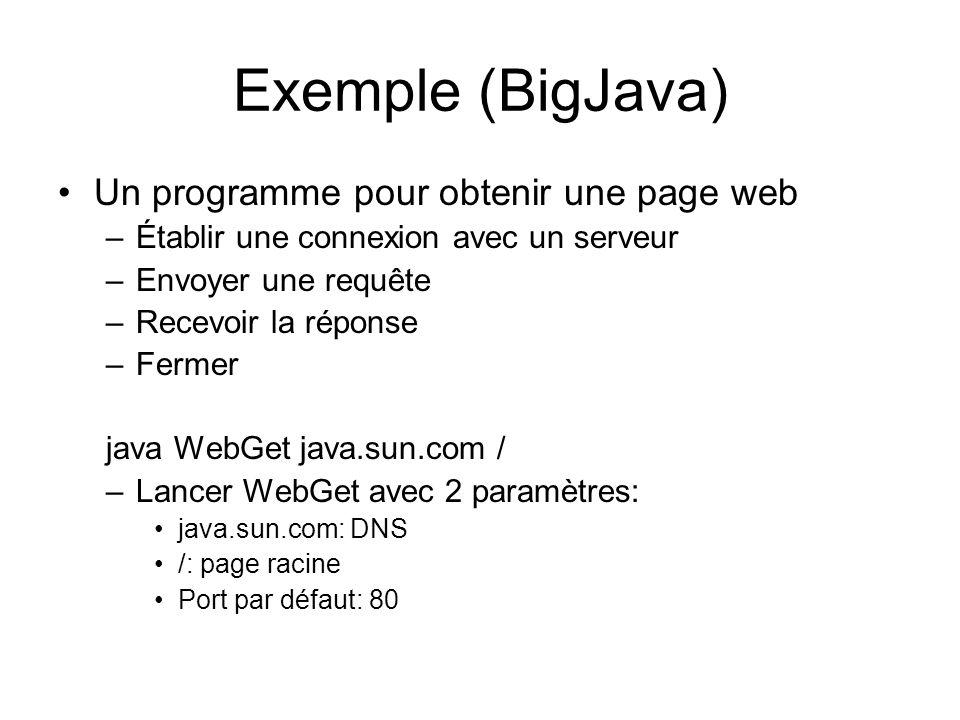 Exemple (BigJava) Un programme pour obtenir une page web –Établir une connexion avec un serveur –Envoyer une requête –Recevoir la réponse –Fermer java WebGet java.sun.com / –Lancer WebGet avec 2 paramètres: java.sun.com: DNS /: page racine Port par défaut: 80