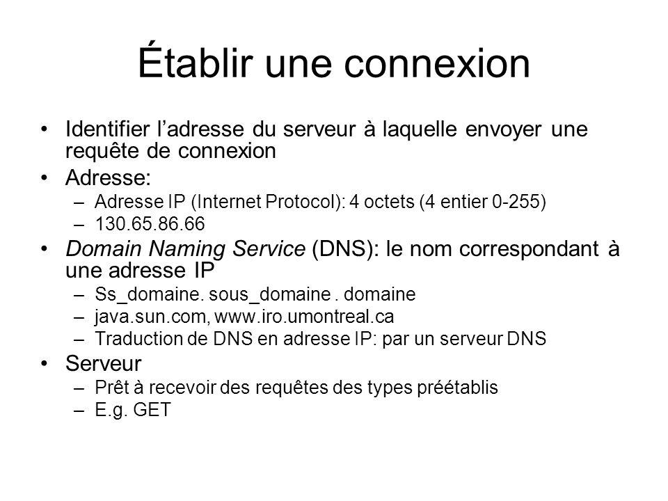 Établir une connexion Identifier ladresse du serveur à laquelle envoyer une requête de connexion Adresse: –Adresse IP (Internet Protocol): 4 octets (4 entier 0-255) –130.65.86.66 Domain Naming Service (DNS): le nom correspondant à une adresse IP –Ss_domaine.