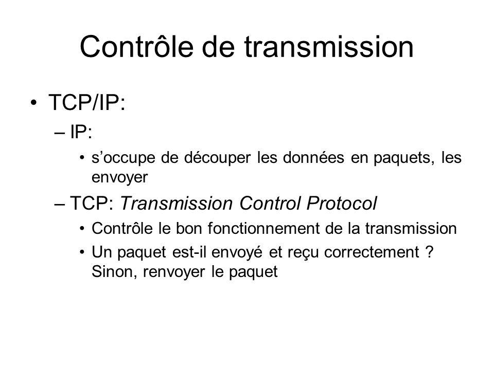 Contrôle de transmission TCP/IP: –IP: soccupe de découper les données en paquets, les envoyer –TCP: Transmission Control Protocol Contrôle le bon fonctionnement de la transmission Un paquet est-il envoyé et reçu correctement .