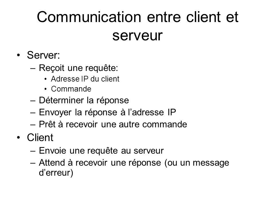 Communication entre client et serveur Server: –Reçoit une requête: Adresse IP du client Commande –Déterminer la réponse –Envoyer la réponse à ladresse IP –Prêt à recevoir une autre commande Client –Envoie une requête au serveur –Attend à recevoir une réponse (ou un message derreur)
