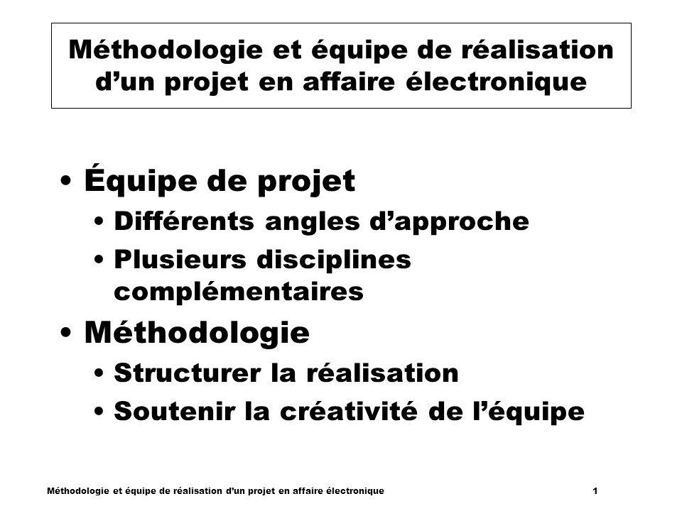 Méthodologie et équipe de réalisation dun projet en affaire électronique 1 Méthodologie et équipe de réalisation dun projet en affaire électronique Éq