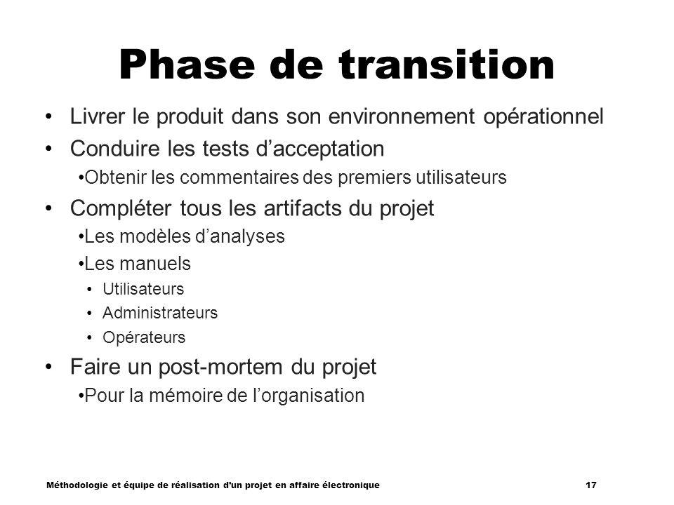 Méthodologie et équipe de réalisation dun projet en affaire électronique 17 Phase de transition Livrer le produit dans son environnement opérationnel
