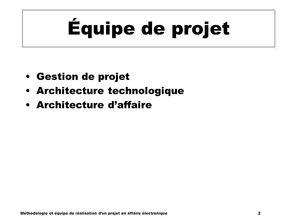 Méthodologie et équipe de réalisation dun projet en affaire électronique 2 Équipe de projet Gestion de projet Architecture technologique Architecture