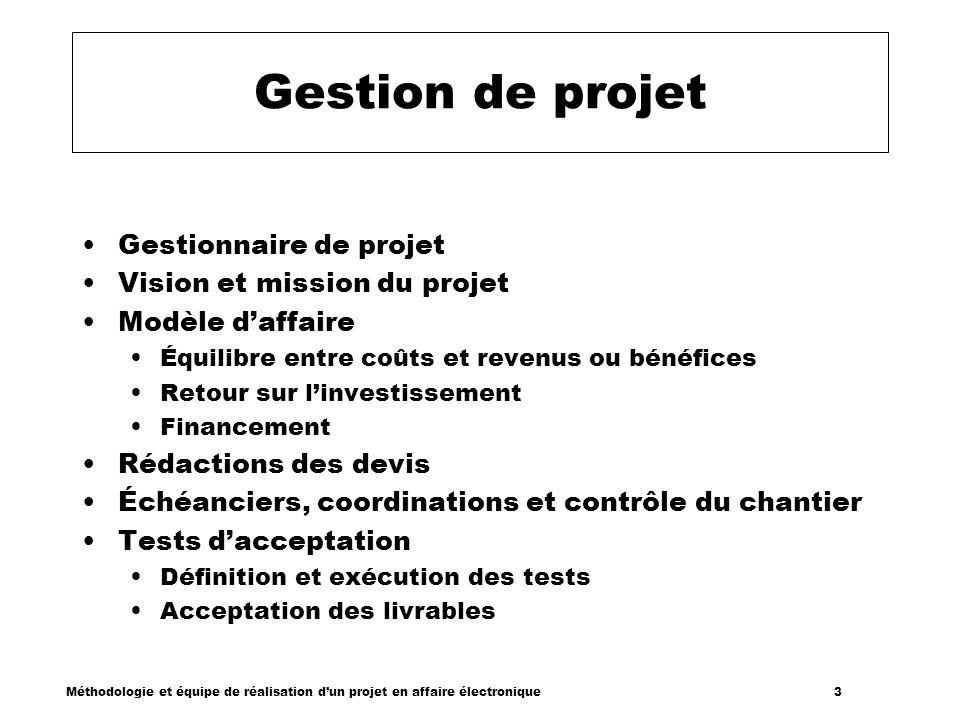 Méthodologie et équipe de réalisation dun projet en affaire électronique 3 Gestion de projet Gestionnaire de projet Vision et mission du projet Modèle