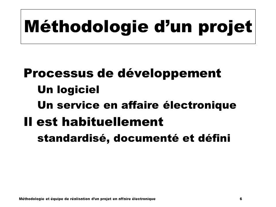 Méthodologie et équipe de réalisation dun projet en affaire électronique 6 Méthodologie dun projet Processus de développement Un logiciel Un service e