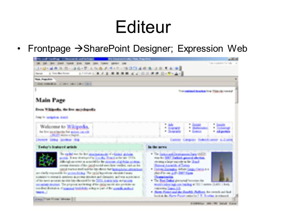 Editeur Frontpage SharePoint Designer; Expression Web
