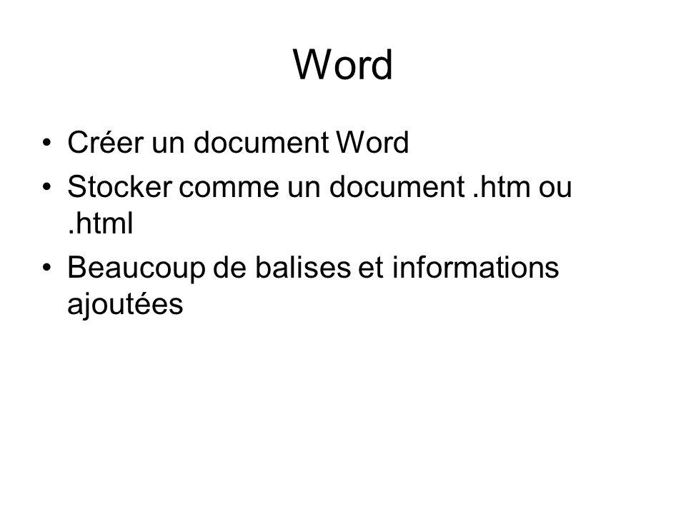 Word Créer un document Word Stocker comme un document.htm ou.html Beaucoup de balises et informations ajoutées