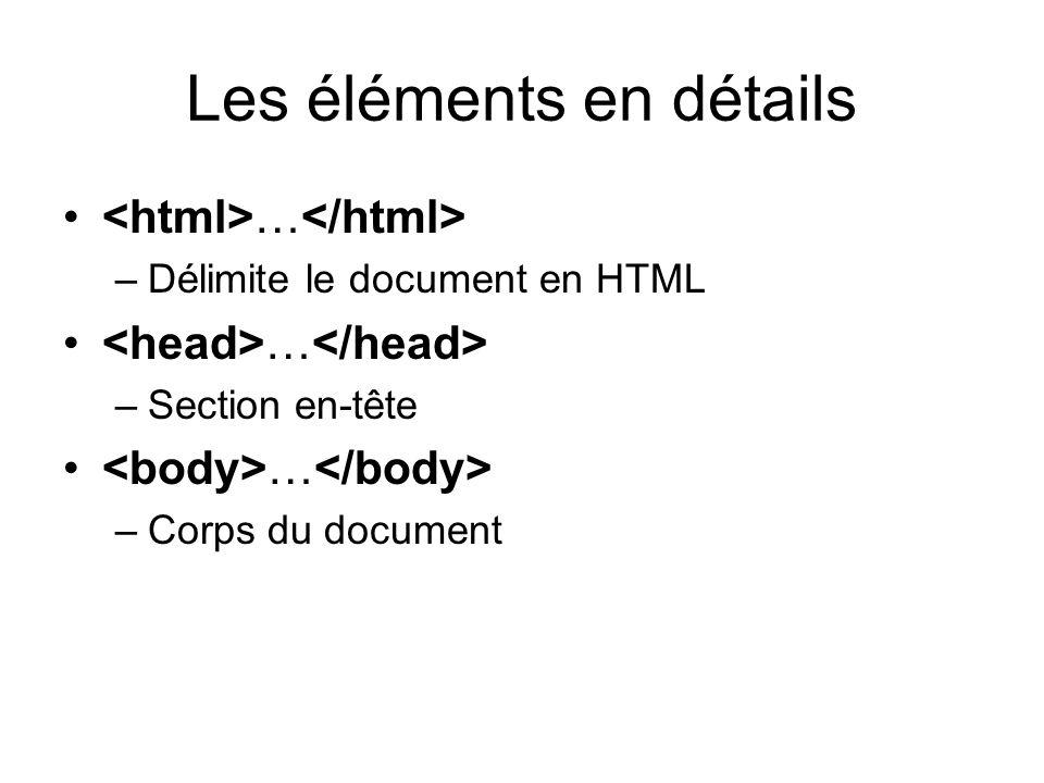 Les éléments en détails … –Délimite le document en HTML … –Section en-tête … –Corps du document