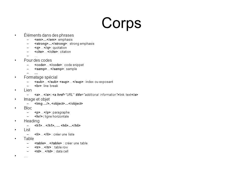 Corps Éléments dans des phrases – … : emphasis – … : strong emphasis – … : quotation – … : citation –… Pour des codes – … : code snippet – … : sample –… Formatage spécial – … … : index ou exposant – : line break Lien – … : link text Image et objet –, … Bloc – … : paragraphe – : ligne horizontale Heading – …, … … List – … : créer une liste Table – … : créer une table – … : table row – … : data cell …