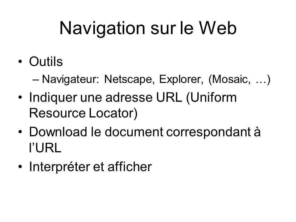 Navigation sur le Web Outils –Navigateur: Netscape, Explorer, (Mosaic, …) Indiquer une adresse URL (Uniform Resource Locator) Download le document correspondant à lURL Interpréter et afficher