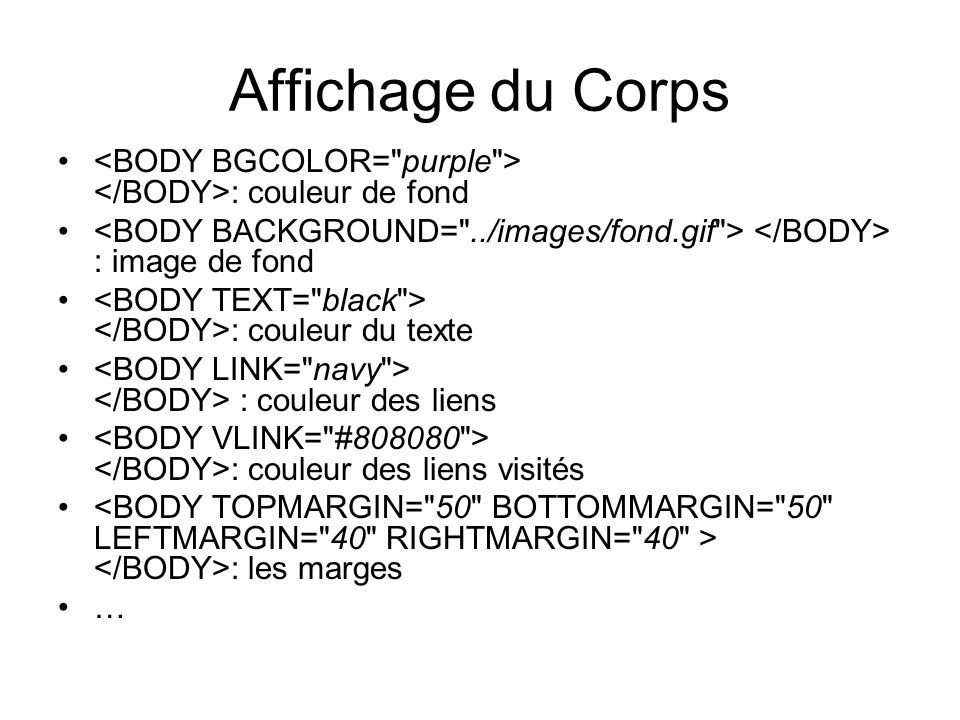 Affichage du Corps : couleur de fond : image de fond : couleur du texte : couleur des liens : couleur des liens visités : les marges …