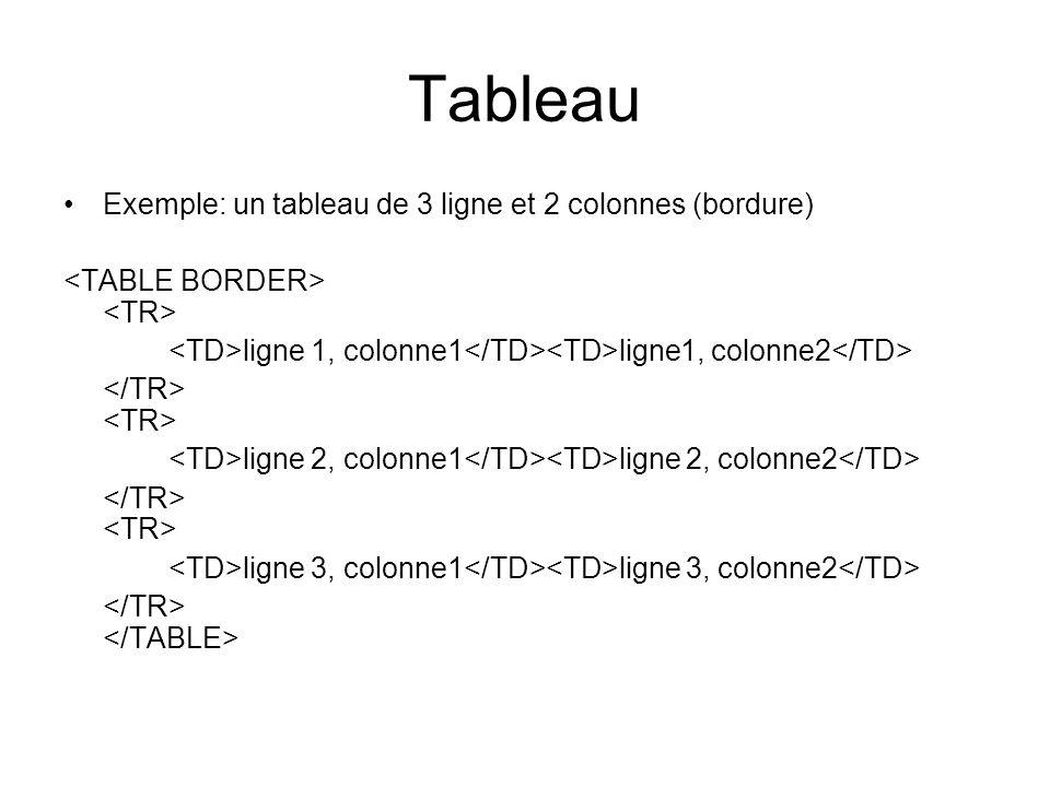 Tableau Exemple: un tableau de 3 ligne et 2 colonnes (bordure) ligne 1, colonne1 ligne1, colonne2 ligne 2, colonne1 ligne 2, colonne2 ligne 3, colonne1 ligne 3, colonne2
