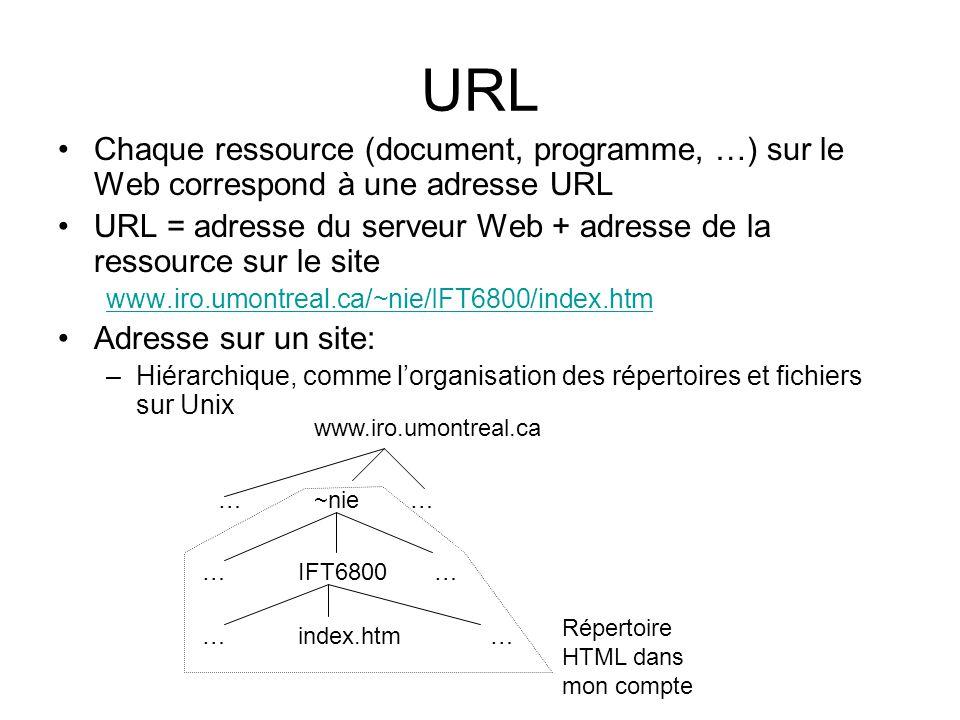 URL Chaque ressource (document, programme, …) sur le Web correspond à une adresse URL URL = adresse du serveur Web + adresse de la ressource sur le site www.iro.umontreal.ca/~nie/IFT6800/index.htm Adresse sur un site: –Hiérarchique, comme lorganisation des répertoires et fichiers sur Unix www.iro.umontreal.ca …~nie… …IFT6800 … …index.htm … Répertoire HTML dans mon compte