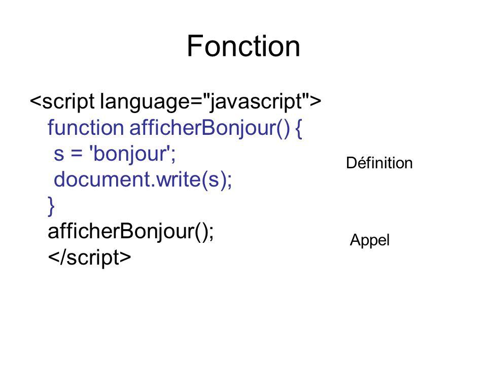 Fonction function afficherBonjour() { s = bonjour ; document.write(s); } afficherBonjour(); Définition Appel