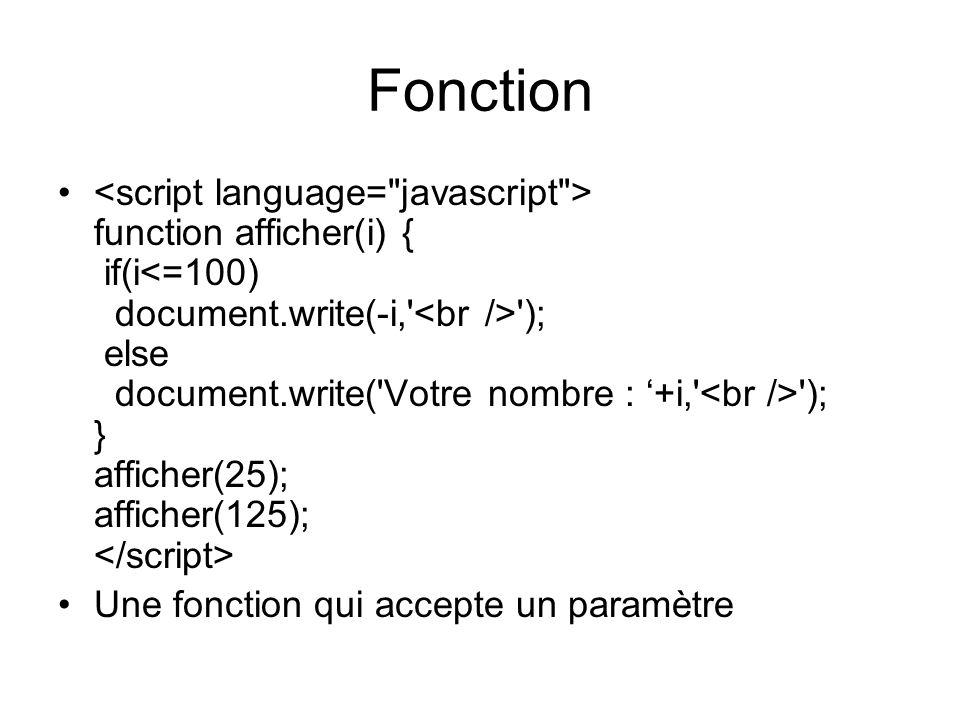 Fonction function afficher(i) { if(i ); else document.write( Votre nombre : +i, ); } afficher(25); afficher(125); Une fonction qui accepte un paramètre