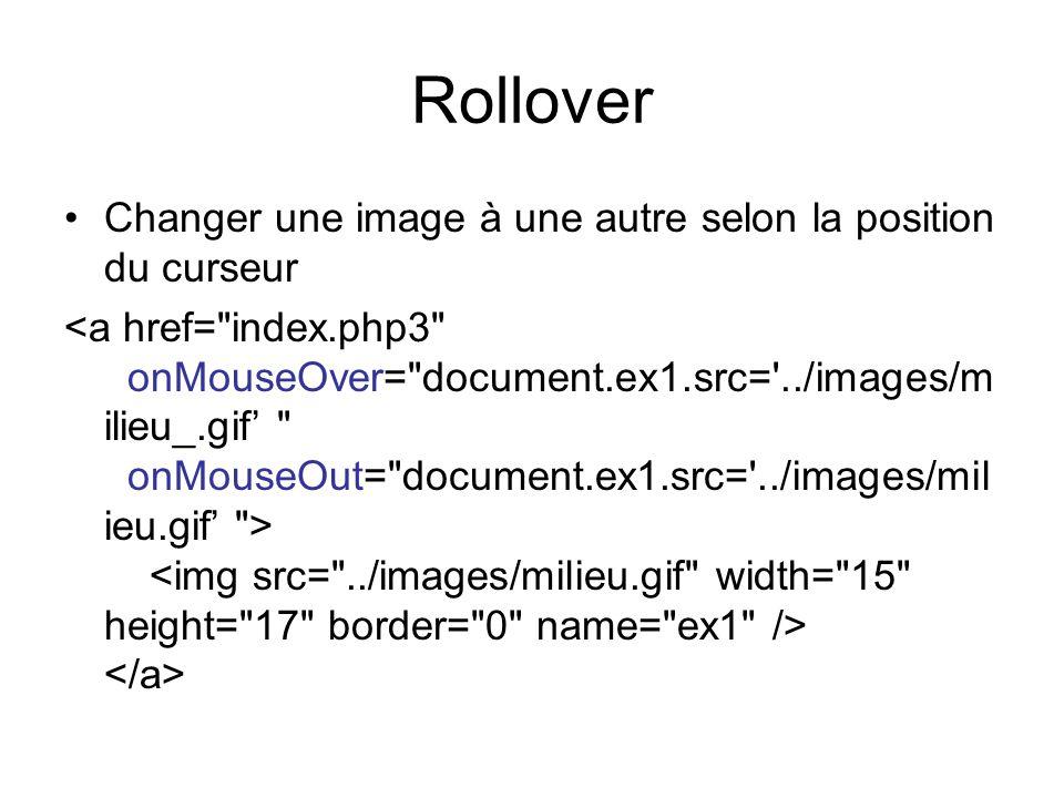 Rollover Changer une image à une autre selon la position du curseur