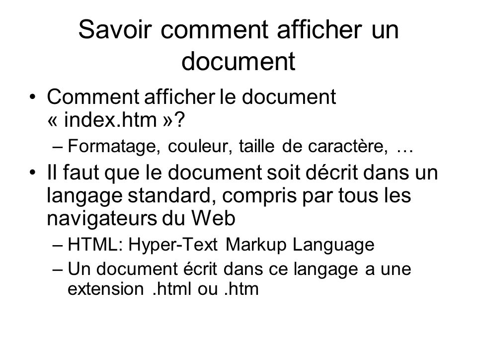 Afficher la date et lheure today = new Date(); document.write( Nous sommes le ,today.getDate(), / ,today.getMonth()+1, / , today.getYear(), ); document.write( Il est ,today.getHours(), : ,today.getMinutes(), : , today.getSeconds(), ); Nous sommes le 15/8/2007 Il est 0:2:54 today: une variable getDate(): obtenir la date courante