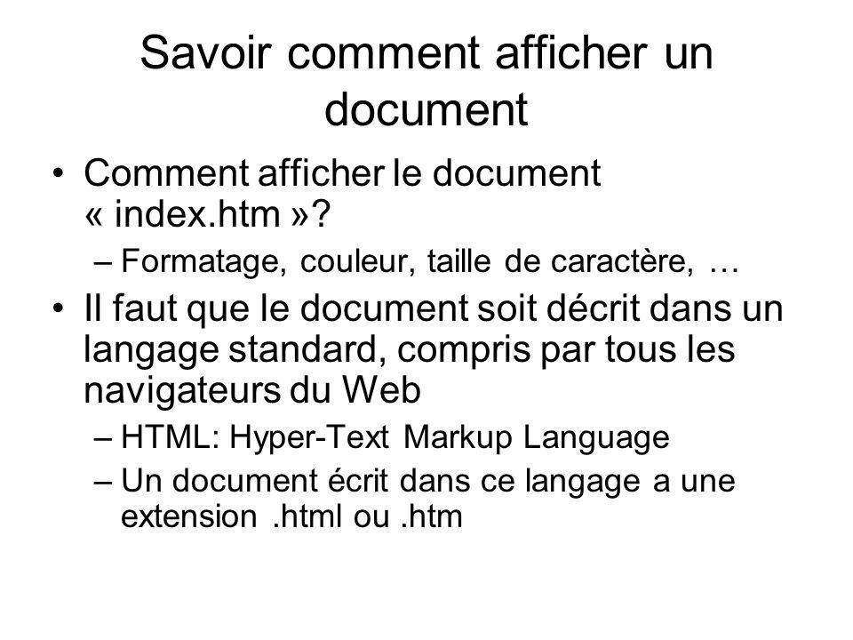 Savoir comment afficher un document Comment afficher le document « index.htm ».