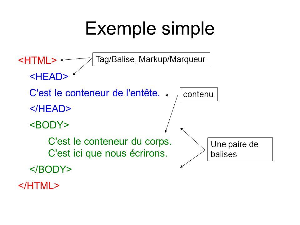 Exemple simple C est le conteneur de l entête. C est le conteneur du corps.