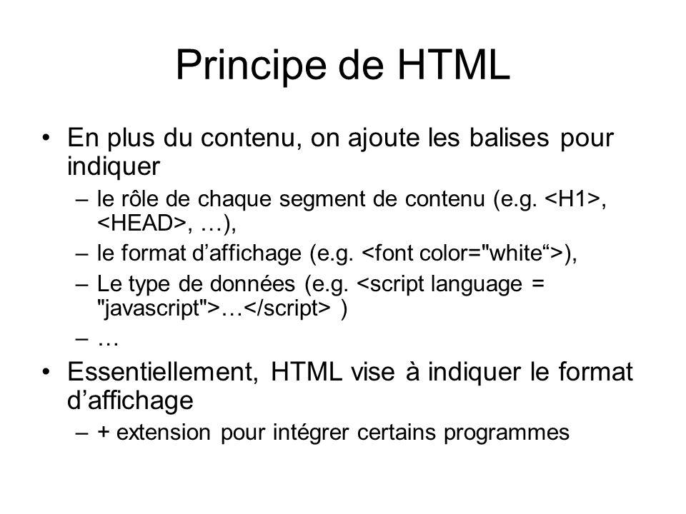 Principe de HTML En plus du contenu, on ajoute les balises pour indiquer –le rôle de chaque segment de contenu (e.g.,, …), –le format daffichage (e.g.