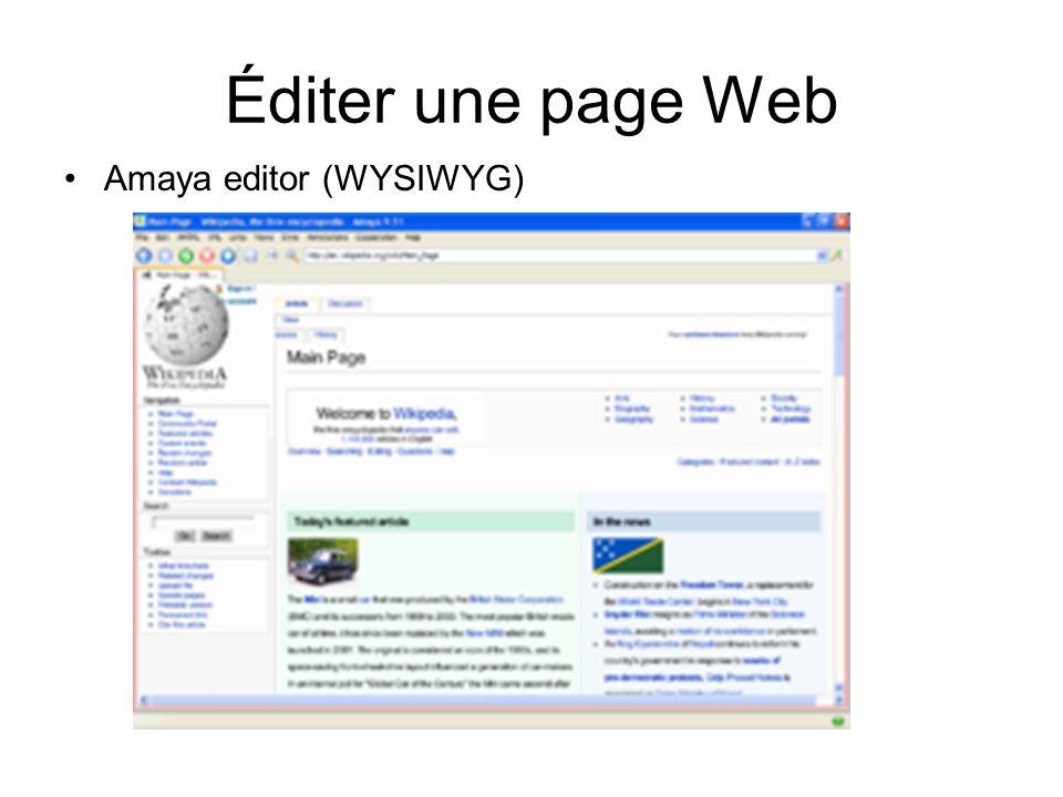 Éditer une page Web Amaya editor (WYSIWYG)