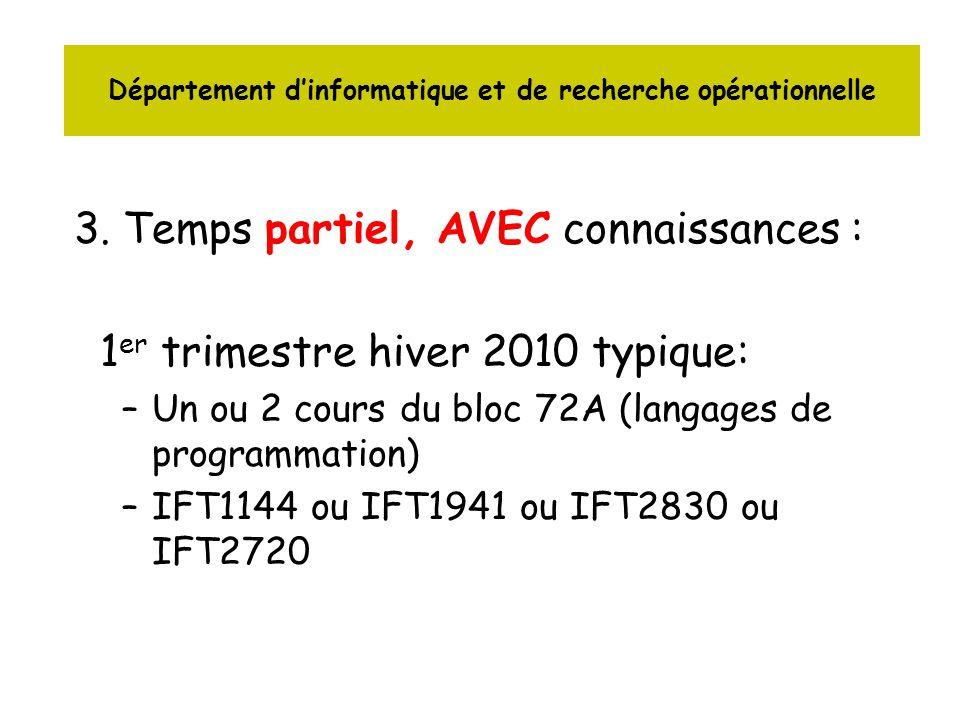 3. Temps partiel, AVEC connaissances : 1 er trimestre hiver 2010 typique: –Un ou 2 cours du bloc 72A (langages de programmation) –IFT1144 ou IFT1941 o