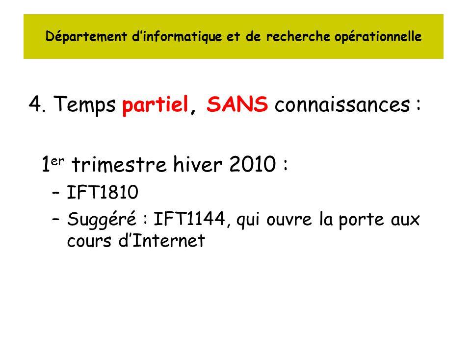 4. Temps partiel, SANS connaissances : 1 er trimestre hiver 2010 : –IFT1810 –Suggéré : IFT1144, qui ouvre la porte aux cours dInternet