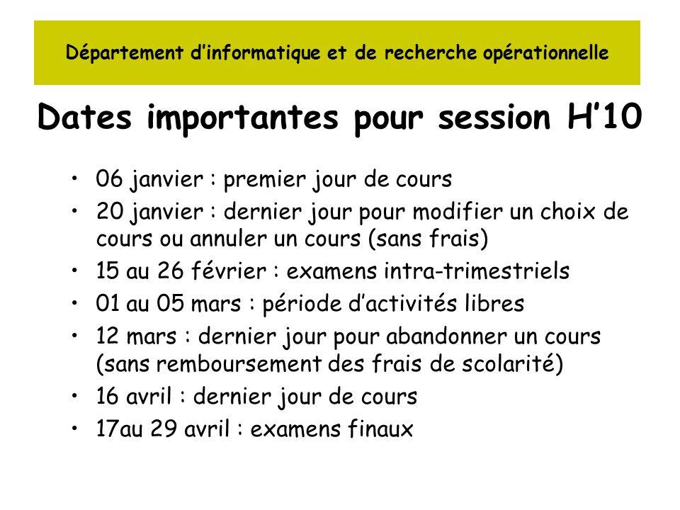 Département dinformatique et de recherche opérationnelle Dates importantes pour session H10 06 janvier : premier jour de cours 20 janvier : dernier jo