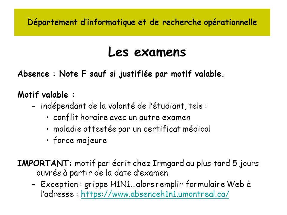 Département dinformatique et de recherche opérationnelle Les examens Absence : Note F sauf si justifiée par motif valable.