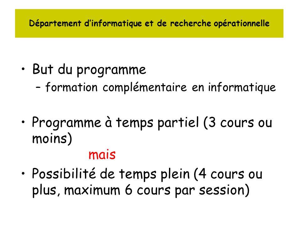 Département dinformatique et de recherche opérationnelle But du programme –formation complémentaire en informatique Programme à temps partiel (3 cours ou moins) mais Possibilité de temps plein (4 cours ou plus, maximum 6 cours par session)