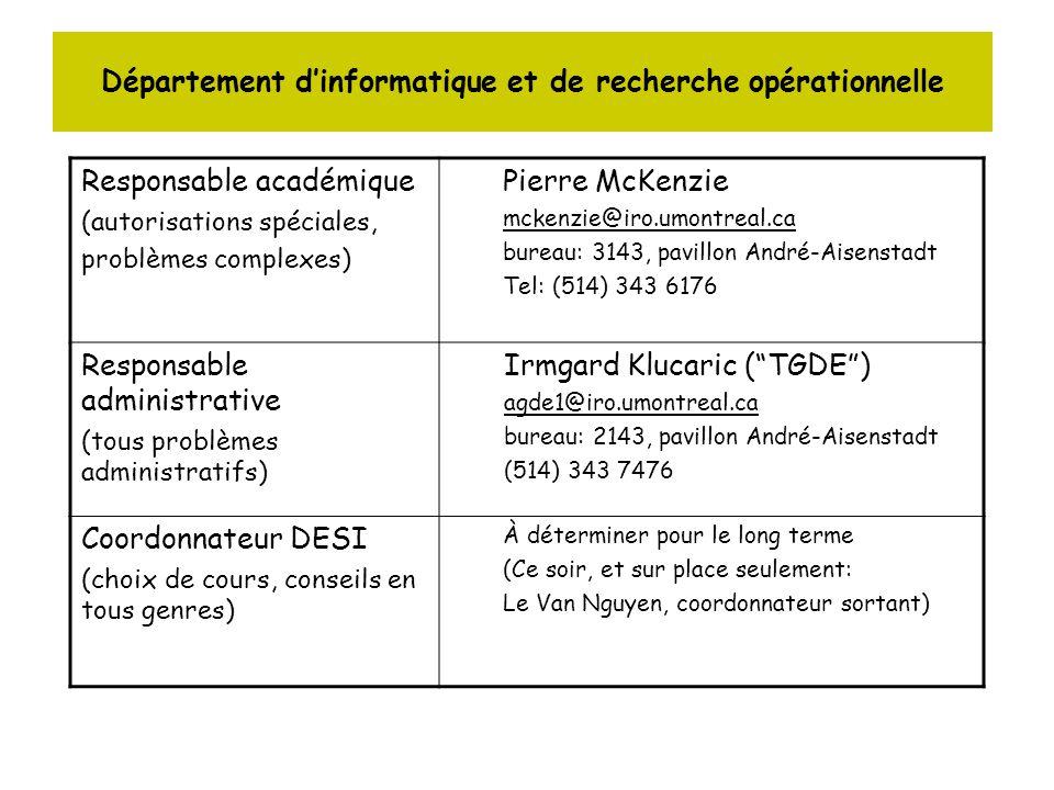 Département dinformatique et de recherche opérationnelle Structure du programme Cours à option : 24 à 30 crédits : 8 à 10 cours IFTxxxx répartis en 5 blocs Cours au choix : 0 à 6 crédits ( 0, 1, ou 2 cours) : –normalement hors des cours IFTxxxx –ATTENTION : il existe une liste de cours (pas seulement dinformatique) qui ne peuvent être pris comme cours au choix –Voir lien suivant : –http://www.etudes.umontreal.ca/horaire/index.html cliquer sur choix multiplehttp://www.etudes.umontreal.ca/horaire/index.html (voir Irmgard: agde1@iro.umontreal.ca) 4