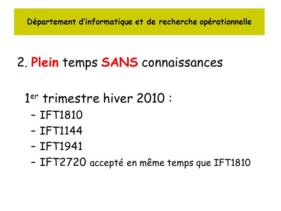 Département dinformatique et de recherche opérationnelle 2. Plein temps SANS connaissances 1 er trimestre hiver 2010 : –IFT1810 –IFT1144 –IFT1941 –IFT