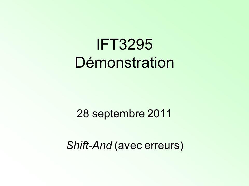 Shift-And (avec erreurs) On peut résumer tous ces cas dans la formule de transition suivante : R d j+1 = Rshift[R d j ] AND S j+1 OR Rshift[R d-1 j OR R d-1 j+1 ] OR R d-1 j