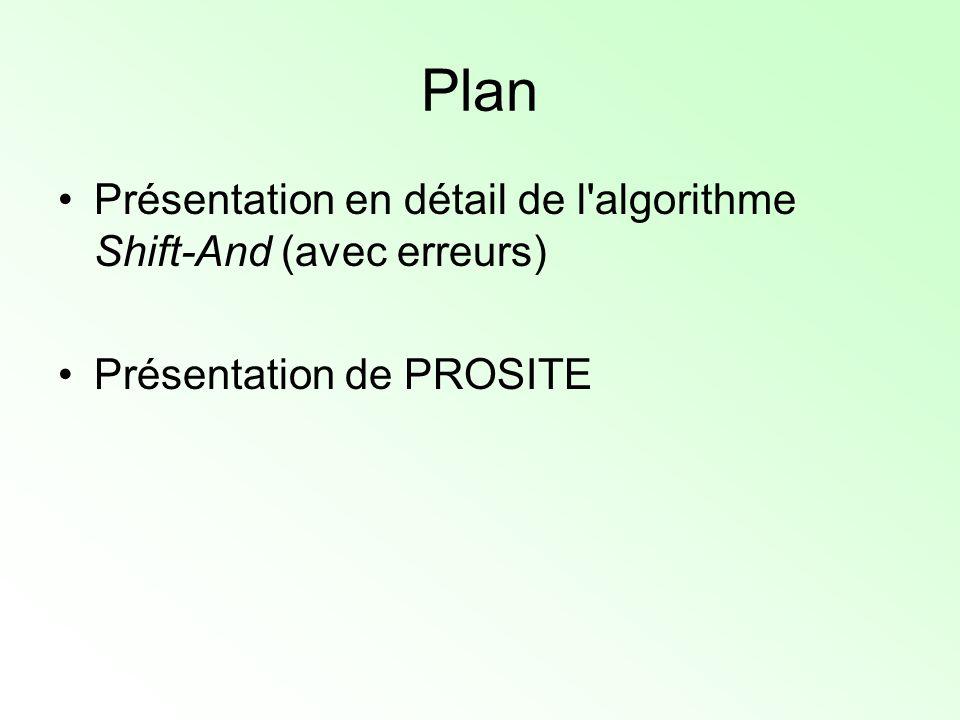 Plan Présentation en détail de l'algorithme Shift-And (avec erreurs) Présentation de PROSITE