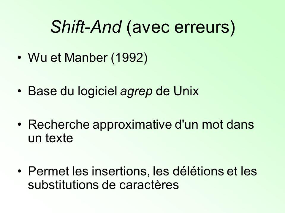 Shift-And (avec erreurs) Exemple : –Texte : aabaacaabacab –Mot : aabac (|mot| = m) –Alphabet : {a, b, c} Pré-traitement : –Pour chaque caractère x de l alphabet, on construit un tableau de bits S x tel que S x [pos] = 1 si mot pos = x (pour 1 <= pos <= m)