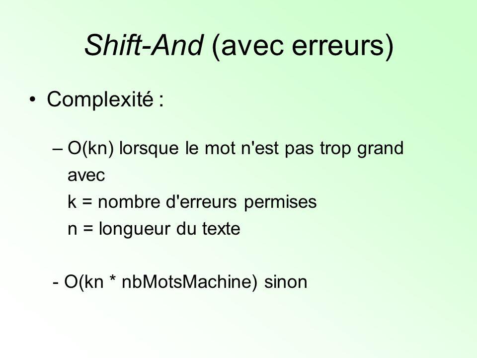 Shift-And (avec erreurs) Complexité : –O(kn) lorsque le mot n'est pas trop grand avec k = nombre d'erreurs permises n = longueur du texte - O(kn * nbM