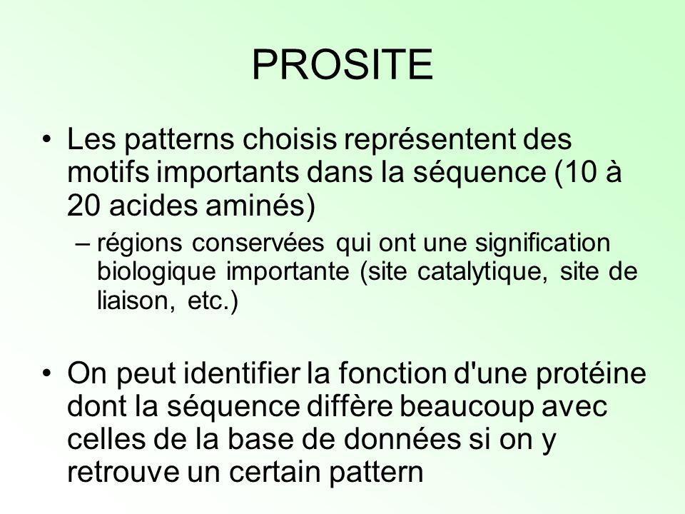 PROSITE Les patterns choisis représentent des motifs importants dans la séquence (10 à 20 acides aminés) –régions conservées qui ont une signification