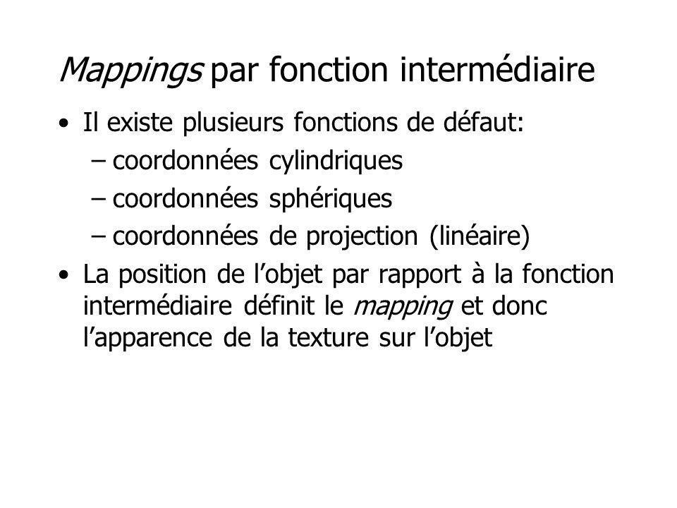 Mappings par fonction intermédiaire Il existe plusieurs fonctions de défaut: –coordonnées cylindriques –coordonnées sphériques –coordonnées de project
